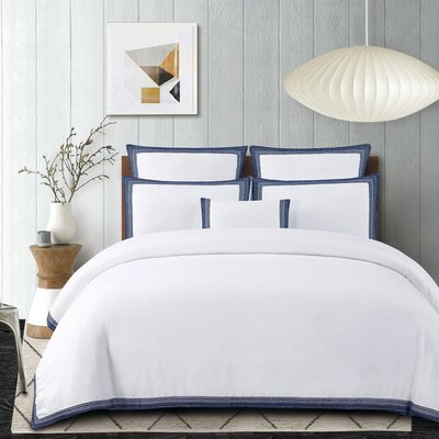 Blatherwick Embroidered 100% Belgian Linen 3 Piece Duvet Cover Set Color: Indigo Blue, Size: King