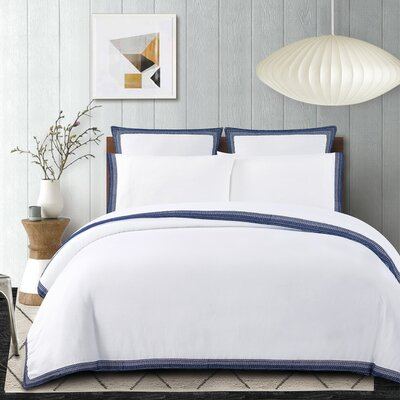 Blatherwick Embroidered 100% Belgian Linen Sheet Set Color: Indigo Blue, Size: King