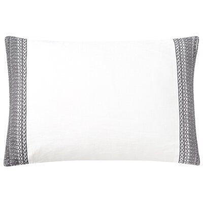 Blatherwick Embroidered 100% Belgian Linen Boudoir/Breakfast Pillow Color: Slate Gray