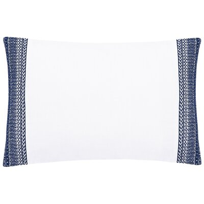 Blatherwick Embroidered 100% Belgian Linen Boudoir/Breakfast Pillow Color: Indigo Blue