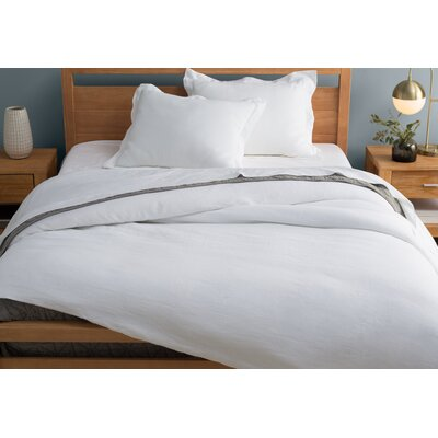 Washed Belgian Duvet Set Color: Eggshell White, Size: Full/Queen