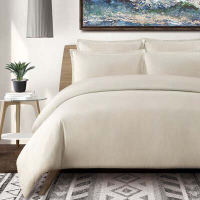Tarek 3 Piece Duvet Set Color: Stone, Size: King