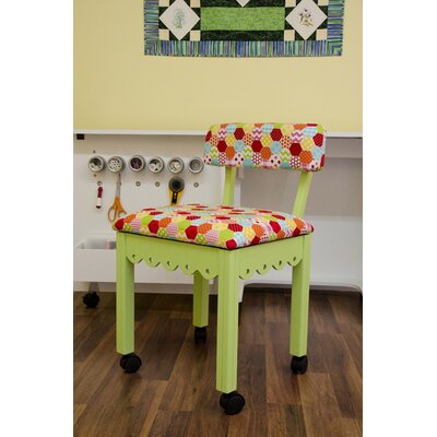 Sewing Underseat Storage Side Chair Upholstery: Green
