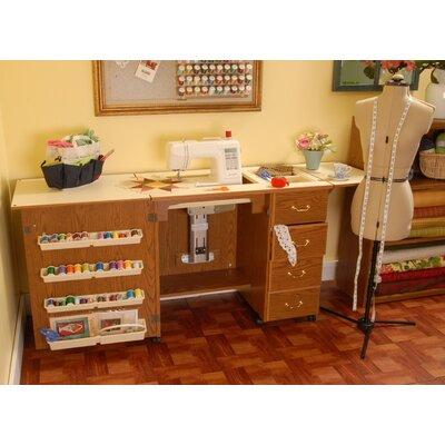Norma Jean Wooden Sewing Table Desk Color: Oak 350