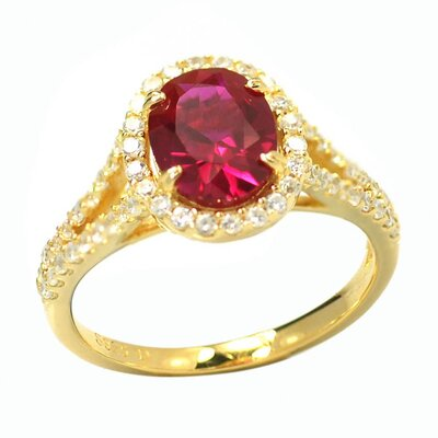 DeBuman Gold Over Sterling Silver Oval Stone Ring - Size: 7, Stone: Ruby and CZ, Total Carats: 2.77 Carts