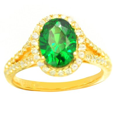 DeBuman Gold Over Sterling Silver Oval Stone Ring - Size: 7.5, Stone: Emerald and CZ, Total Carats: 3.93 Carts