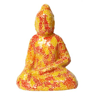 Mosaic Small Sitting Buddha Figurine Color: Yellow / Orange