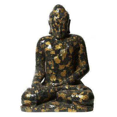 Mosaic Sculptures Full Size Buddha Statue Color: Black/gold
