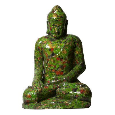 Mosaic Sculptures Full Size Buddha Statue Color: Green/red/black/gold