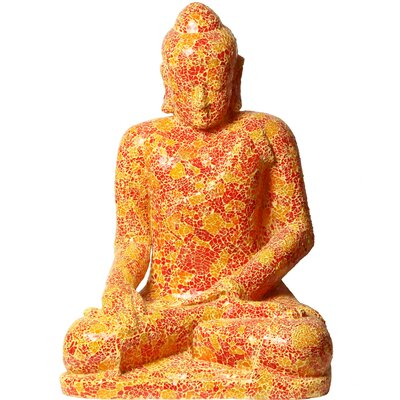 Mosaic Sculptures Full Size Buddha Statue Color: Red/yellow