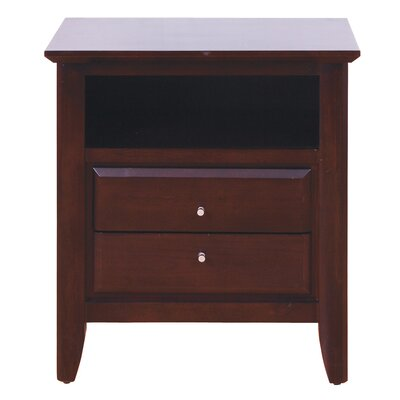 Modus City II 2 Drawer Nightstand - Finish: Mahogany, Charging Station: Not Included
