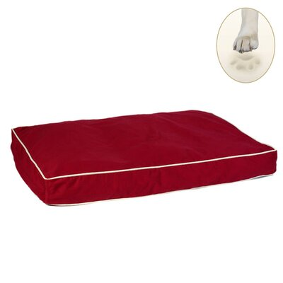 "Classic Memory Foam Dog Pillow Size: Medium (30"" L x 20"" W), Color: Burgundy"