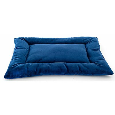 Plush Sleep-ezz Lightweight Dog Bed Crate Pad Size: Medium (30 L x 20 W), Color: Sapphire Blue