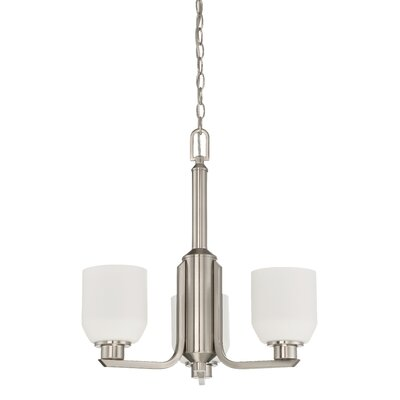 Quartz 3-Light Shaded Chandelier Finish: Bright Satin Nickel