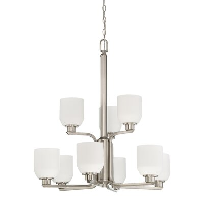Quartz 9-Light Shaded Chandelier Finish: Bright Satin Nickel