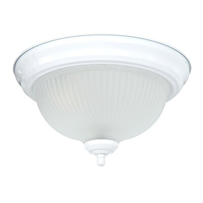 2-Light Frosted Ribbed Swirl Flush Mount Finish: White