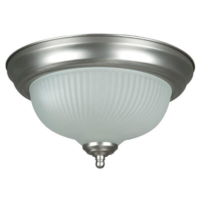 2-Light Frosted Ribbed Swirl Flush Mount Finish: Satin Nickel