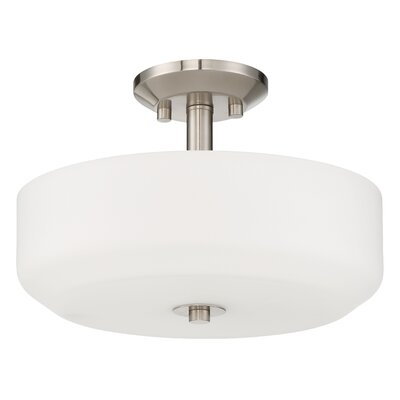 Quartz 3-Light Semi Flush Mount Base Finish: Bright Satin Nickel