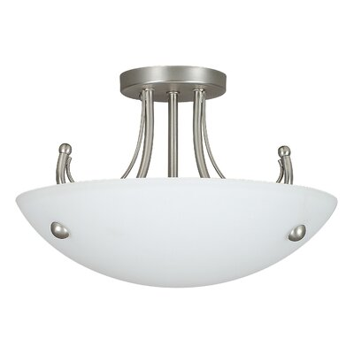 Boutin 3-Light Semi-Flush Mount Color: Satin Nickel