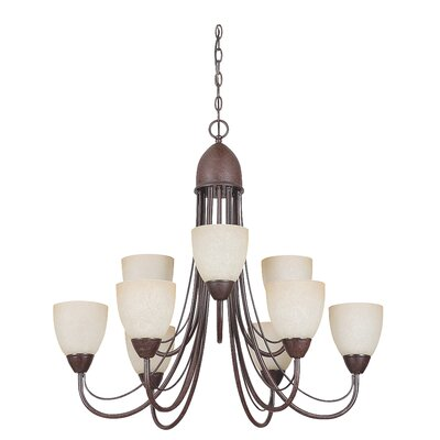 Tempest 9-Light Shaded Chandelier Finish: Rubbed Bronze
