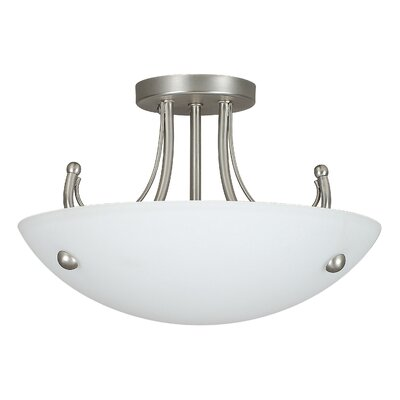 Boutin 2-Light Semi-Flush Mount Finish: Satin Nickel