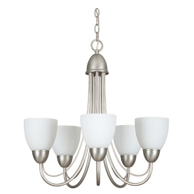 Tempest 5-Light Shaded Chandelier Finish: Satin Nickel