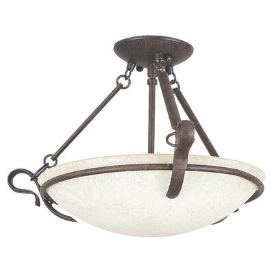 3-Light Semi-Flush Mount Finish: Rubbed Bronze