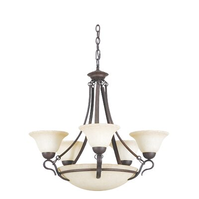 8-Light Shaded Chandelier Finish: Rubbed Bronze