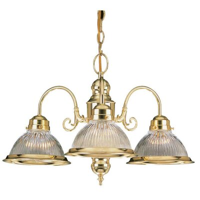 3-Light Shaded Chandelier Finish: Polished Brass