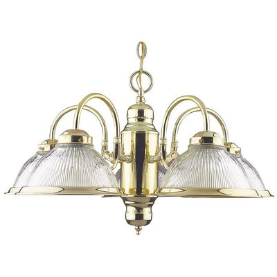 5-Light Shaded Chandelier Finish: Polished Brass