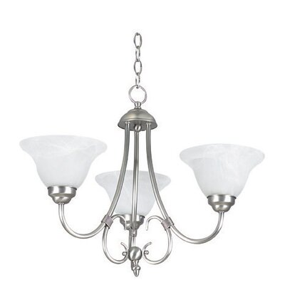 Westphal 3-Light Shaded Chandelier Color: Satin Nickel, Glass Color: Faux Alabaster
