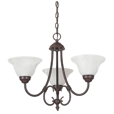Madrid 3-Light Shaded Chandelier Finish: Rubbed Bronze, Glass Color: Faux Alabaster