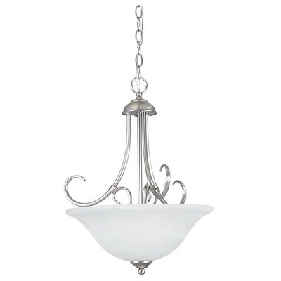 Madrid 3-Light Bowl Pendant Finish: Satin Nickel, Glass Color: Faux Alabaster
