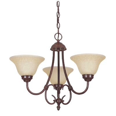 Madrid 3-Light Shaded Chandelier Finish: Rubbed Bronze, Glass Color: Tea-Stained