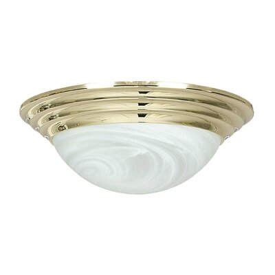 2-Light Flush Mount Finish: Satin Nickel, Size: 4 H x 12 W x 12 D