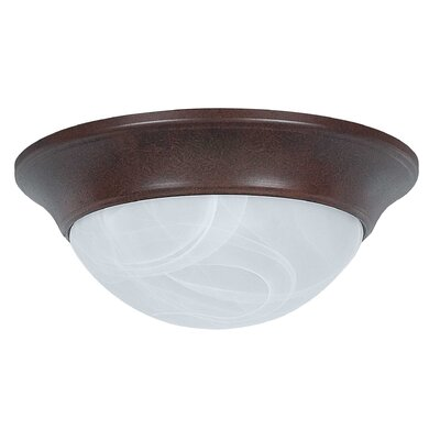 2-Light Twist-On Flush Mount Finish: Rubbed Bronze, Size: 4.13 x 14 x 14