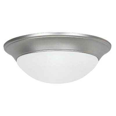2-Light Flush Mount Finish: Satin Nickel, Size: 4.13 x 14 x 14