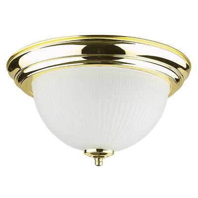 2-Light Ribbed Flush Mount