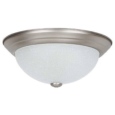 2-Light Flush Mount Size: 6 H x 13 W x 13 D, Glass Color: Linen
