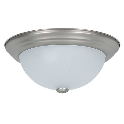 2-Light Flush Mount Size: 6 H x 11 W x 11 D, Glass Color: Frosted Feather
