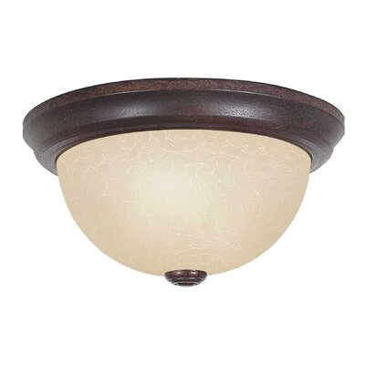 2-Light Flush Mount Size: 6 H x 11 W x 11 D, Shade Type: Tea-Stained
