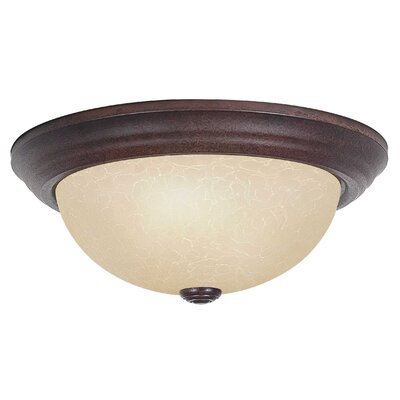 3-Light Flush Mount Glass Color: Tea-Stained