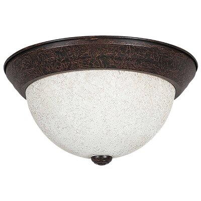 2-Light Flush Mount Size: 6 H x 11 W x 11 D, Shade Type: Turismo