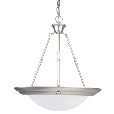 3-Light Pendant Finish: Satin Nickel, Size: 24 H x 20 W x 20 D