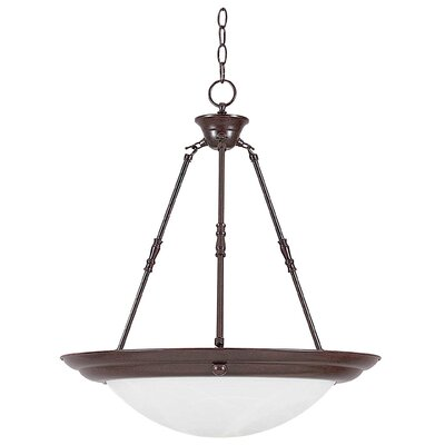 3-Light Pendant Finish: Rubbed Bronze, Size: 23 H x 24 W x 24 D