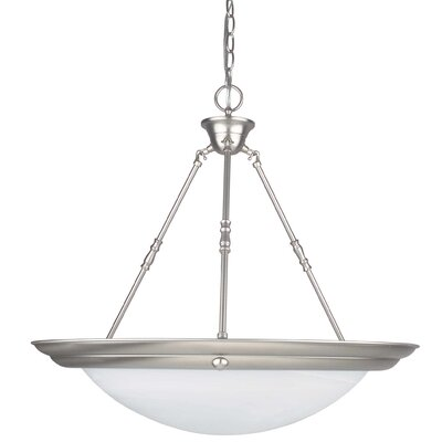 3-Light Pendant Finish: Satin Nickel, Size: 23 H x 24 W x 24 D