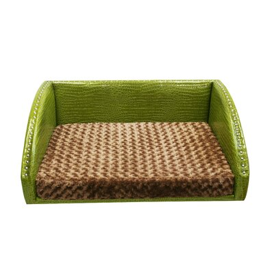 Large Pet Bed Fabric: Lime Twist Vinyl / Mocha Rose Bud