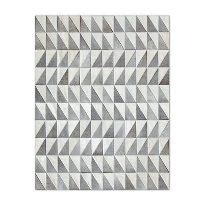 Patchwork Cowhide Gray Area Rug Rug Size: Rectangle 6 x 8