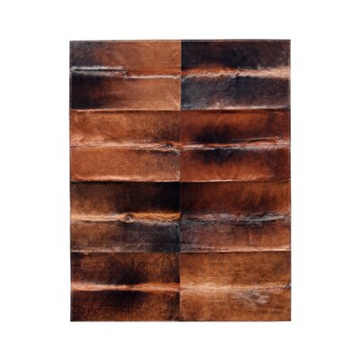 Patchwork Cowhide Oak Cognac Brown Area Rug Rug Size: 8' x 9'