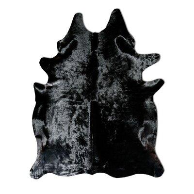 Natural Cowhide Solid Black Rug Rug Size: 6 x 7